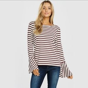 Tops - Striped Bell-Sleeves Top